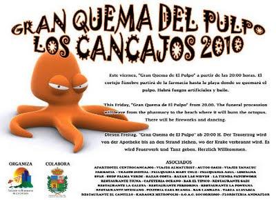 Poster for the Octopus's Funeral, Los Cancajos, La Palma Island