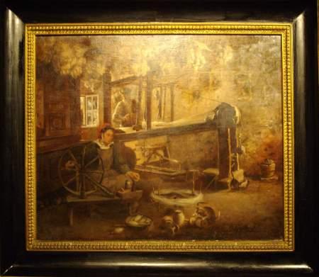The Weaver, oil on canvas, by Manuel González Méndez, exhibited in Santa Cruz de la Palma