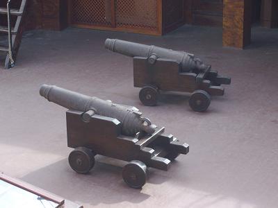 Canons on the deck of the Santa Maria in Santa Cruz de la Palma