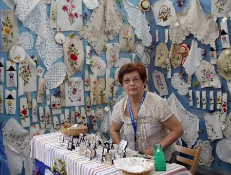 Embroideries at the craft fair in Santa Cruz de la Palma