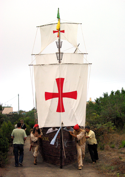 Ship on wheels at the Battle of Lepanto in Barlovento, La Palma.