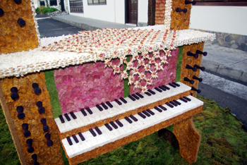 Archway decorated to look like a piano with leaves, petals and seeds for Corpus Christi in Mazo, La Palma, Canary Islands
