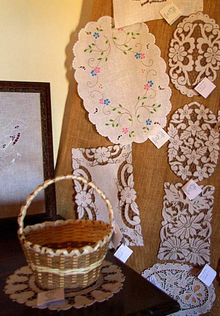 Some of the fine embroidery and drawn-thread work on sale in San Jose de Breña Baja, La Palma