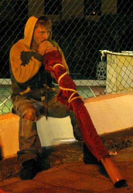Puntagorda fiesta: Hippy playing a didgeridoo