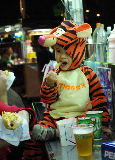 Small boy in Tigger costume for Carnival, Santa Cruz de la Palma