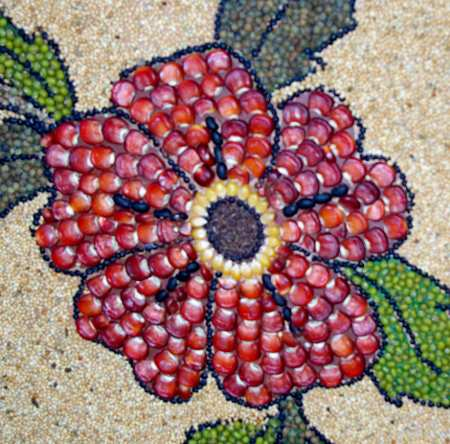 Flower detail made with maize and other seeds, Sacred heart archway, El Paso, La Palma island