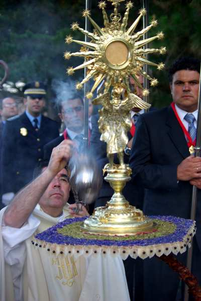 Corpus Christi altar being blessed, Mazo, La Palma