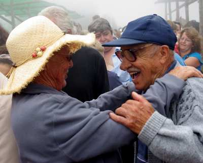 Older couple dancing at the fiesta of San Antonio del Monte, Garafia, La Palma