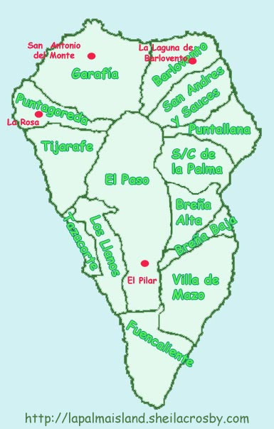 Map of Camp Sites on La Palma