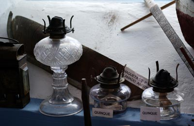 Old oil lamps at the windmill museum, Mazo.