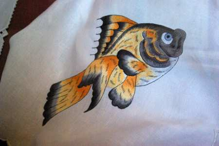 A fish in satin stitch in the embroidery museum, Mazo, La Palma