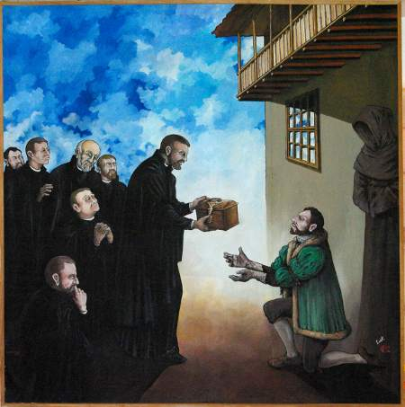 The Tazacorte Martyrs: Father Acevedo gives the relics to Don Melchor.