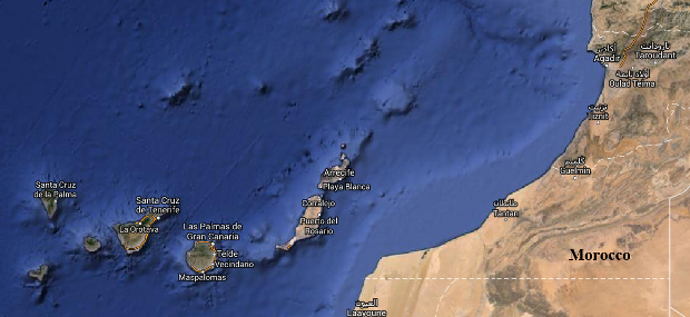 The Canary Islands ar off Morocco. La Palma is at the top left